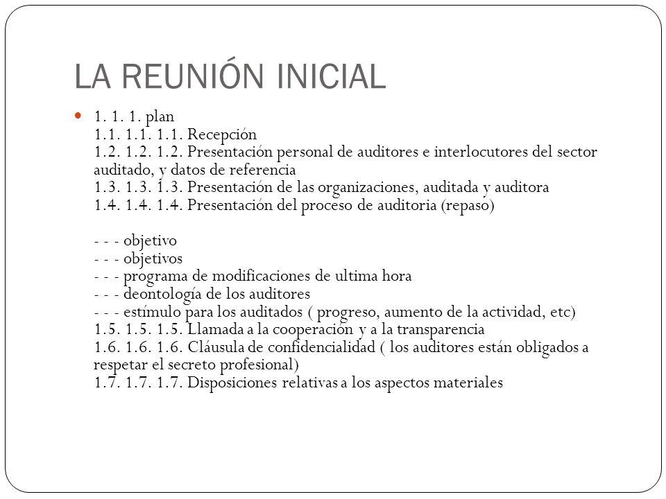 LA REUNIÓN INICIAL 1. 1. 1. plan 1.1. 1.1. 1.1. Recepción 1.2. 1.2. 1.2. Presentación personal de auditores e interlocutores del sector auditado, y da