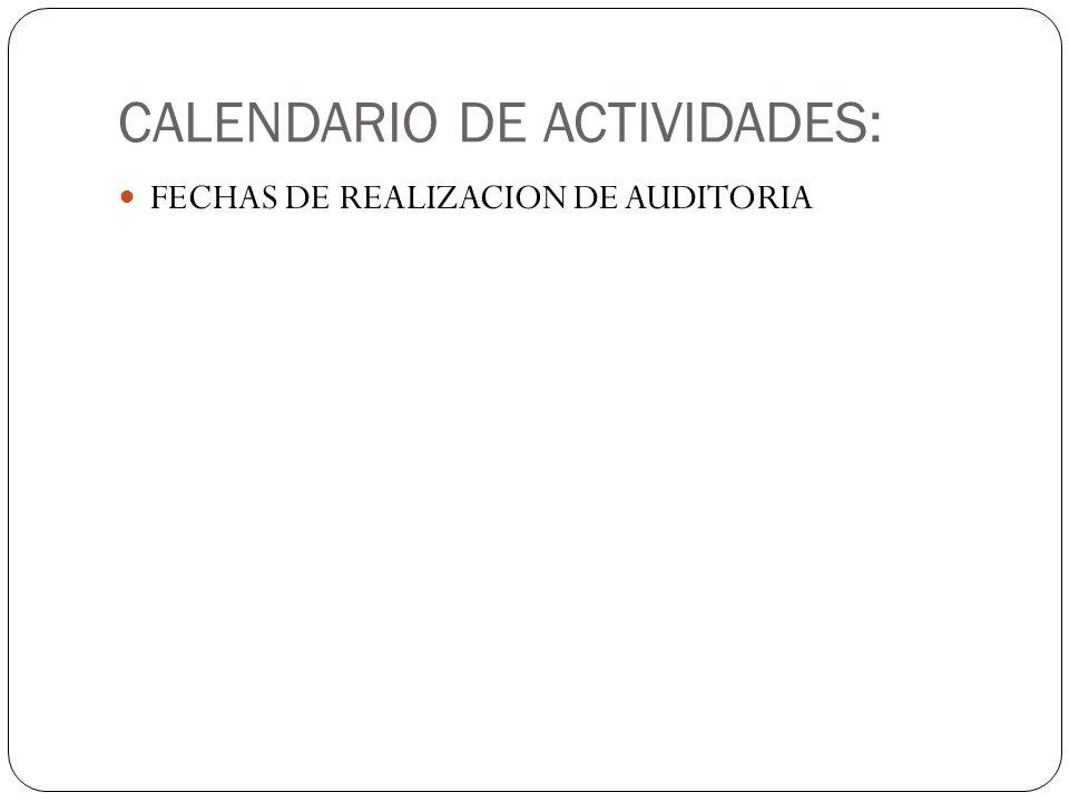 CALENDARIO DE ACTIVIDADES: FECHAS DE REALIZACION DE AUDITORIA