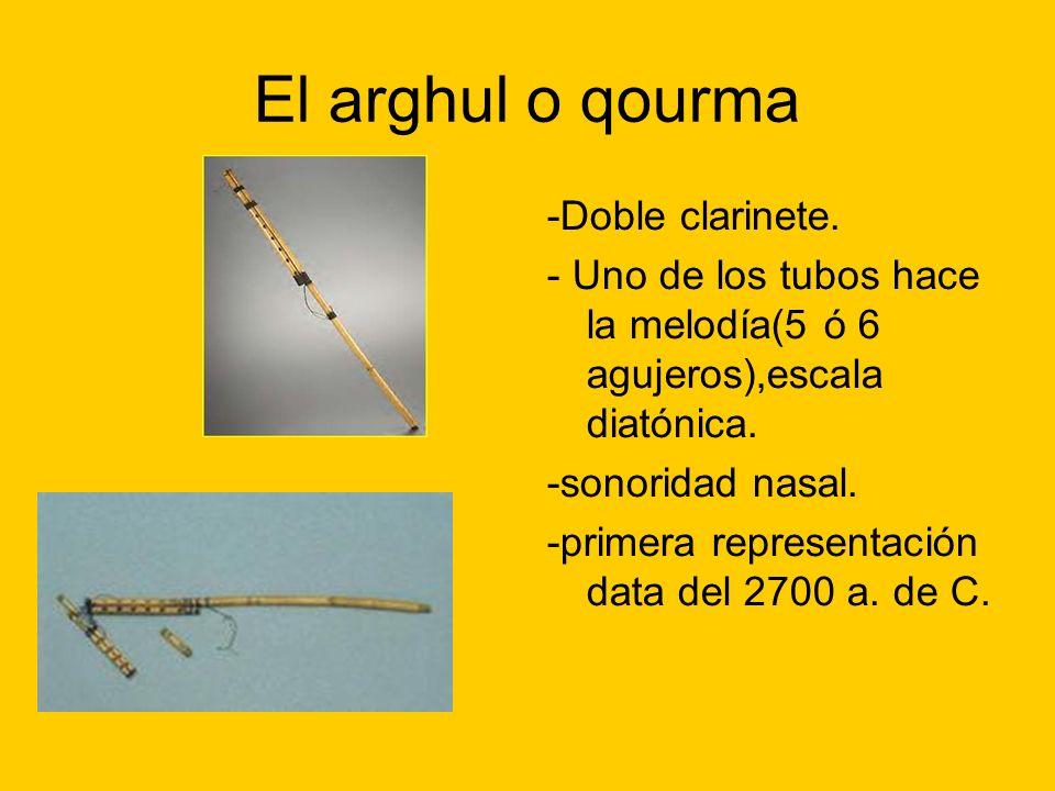 El arghul o qourma -Doble clarinete. - Uno de los tubos hace la melodía(5 ó 6 agujeros),escala diatónica. -sonoridad nasal. -primera representación da