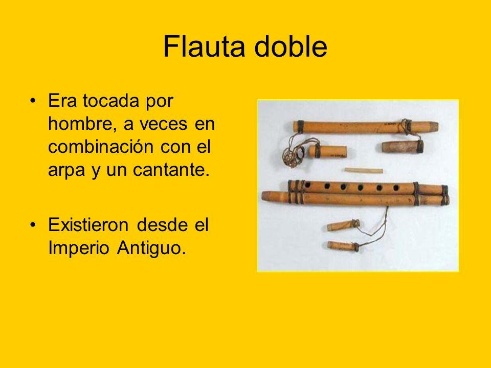 Flauta doble Era tocada por hombre, a veces en combinación con el arpa y un cantante. Existieron desde el Imperio Antiguo.