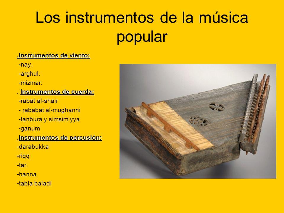 Los instrumentos de la música popular.Instrumentos de viento: -nay. -arghul. -mizmar. Instrumentos de cuerda:. Instrumentos de cuerda: -rabat al-shair
