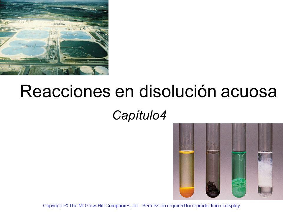Reacciones de precipitación Precipitado: sólido insoluble que se separa de la disolución PbI 2 Pb(NO 3 ) 2 (ac) + 2NaI (ac) PbI 2 (s) + 2NaNO 3 (ac) precipitado 4.2 Solubilidad: Maxima cantidad de soluto que se disolverá en una determinada cantidad de disolvente
