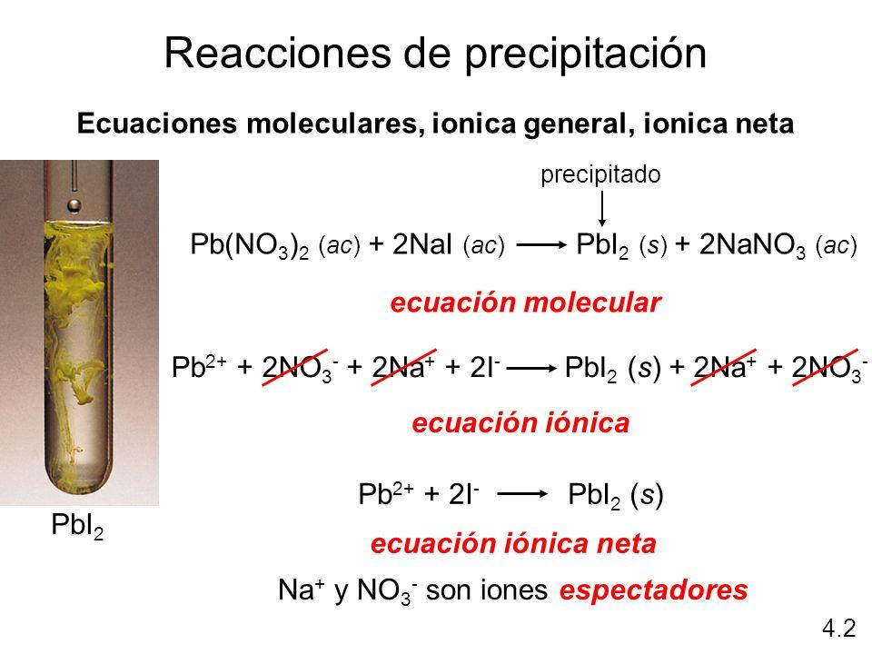 Reacciones de precipitación Ecuaciones moleculares, ionica general, ionica neta ecuación molecular ecuación iónica ecuación iónica neta Pb 2+ + 2NO 3