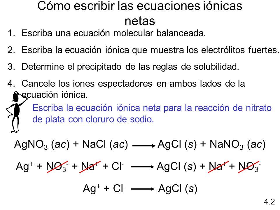 Cómo escribir las ecuaciones iónicas netas 1.Escriba una ecuación molecular balanceada. 2.Escriba la ecuación iónica que muestra los electrólitos fuer