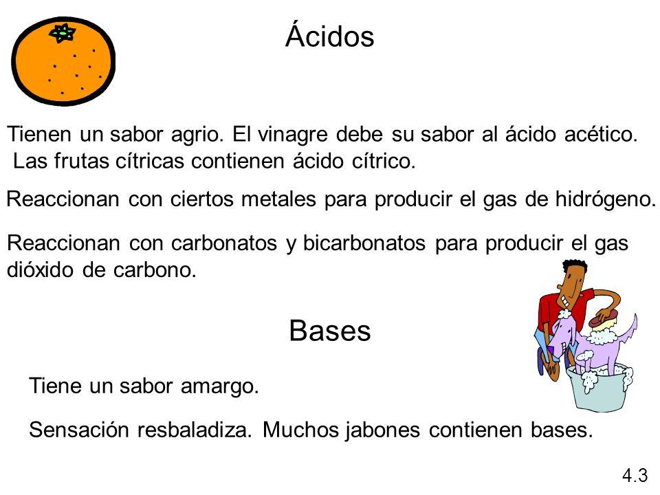 Ácidos Tienen un sabor agrio. El vinagre debe su sabor al ácido acético. Las frutas cítricas contienen ácido cítrico. Reaccionan con ciertos metales p