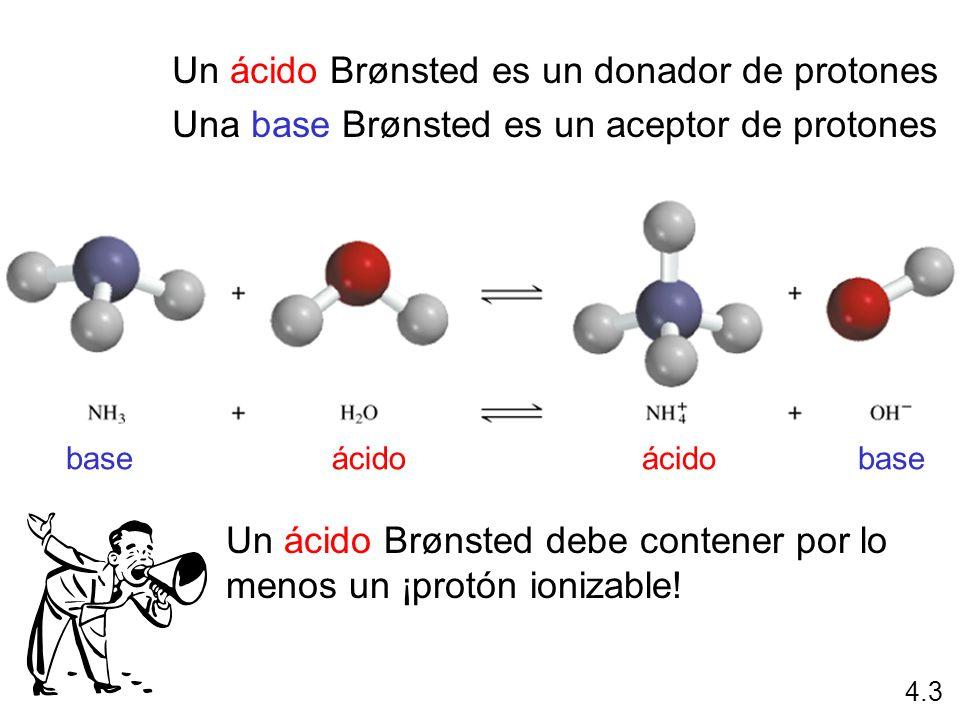 Un ácido Brønsted es un donador de protones Una base Brønsted es un aceptor de protones ácidobaseácidobase 4.3 Un ácido Brønsted debe contener por lo