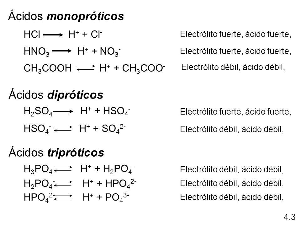 Ácidos monopróticos HCl H + + Cl - HNO 3 H + + NO 3 - CH 3 COOH H + + CH 3 COO - Electrólito fuerte, ácido fuerte, Electrólito débil, ácido débil, Áci