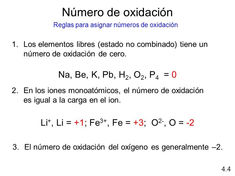 Número de oxidación 1.Los elementos libres (estado no combinado) tiene un número de oxidación de cero. Na, Be, K, Pb, H 2, O 2, P 4 = 0 2.En los iones