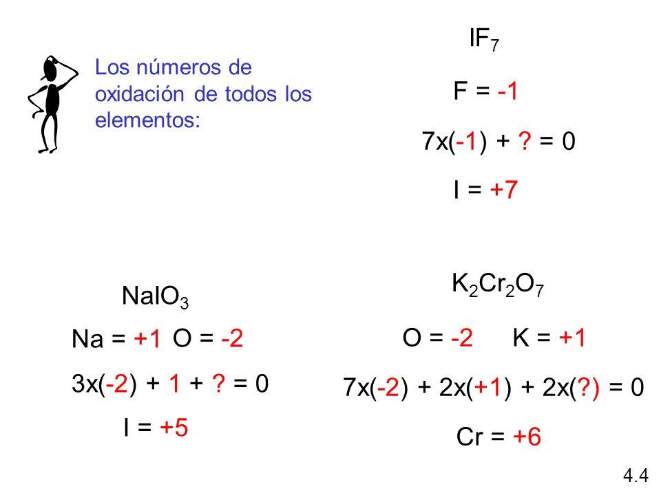 NaIO 3 Na = +1 O = -2 3x(-2) + 1 + ? = 0 I = +5 IF 7 F = -1 7x(-1) + ? = 0 I = +7 K 2 Cr 2 O 7 O = -2K = +1 7x(-2) + 2x(+1) + 2x(?) = 0 Cr = +6 Los nú