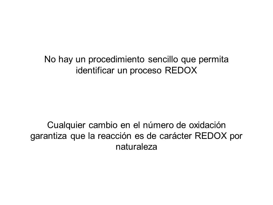 No hay un procedimiento sencillo que permita identificar un proceso REDOX Cualquier cambio en el número de oxidación garantiza que la reacción es de c
