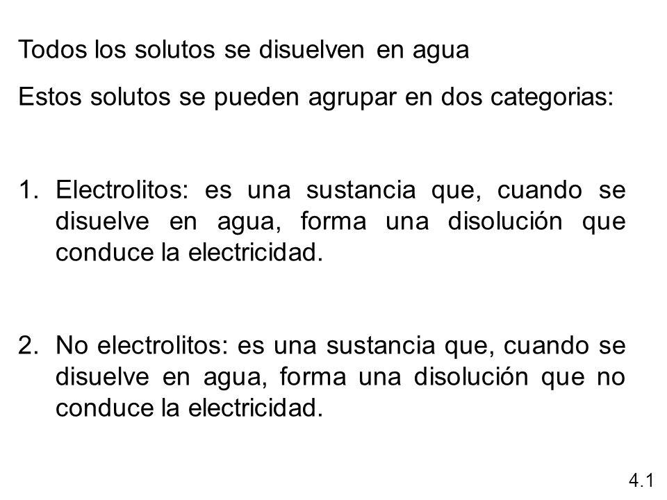 Todos los solutos se disuelven en agua Estos solutos se pueden agrupar en dos categorias: 1.Electrolitos: es una sustancia que, cuando se disuelve en