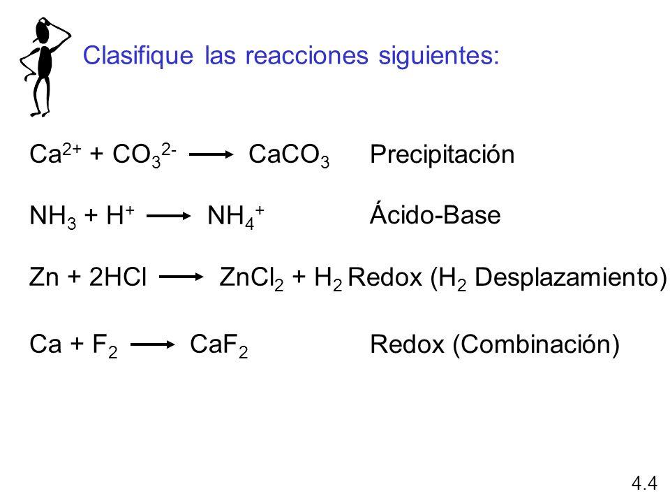 Ca 2+ + CO 3 2- CaCO 3 NH 3 + H + NH 4 + Zn + 2HCl ZnCl 2 + H 2 Ca + F 2 CaF 2 Precipitación Ácido-Base Redox (H 2 Desplazamiento) Redox (Combinación)