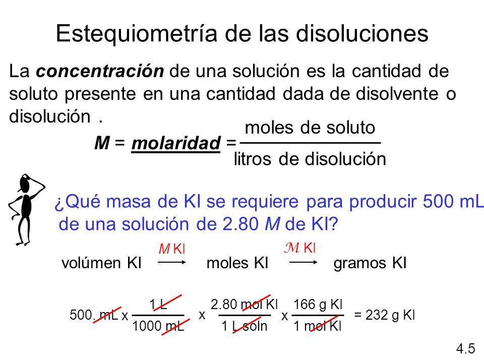 Estequiometría de las disoluciones La concentración de una solución es la cantidad de soluto presente en una cantidad dada de disolvente o disolución.
