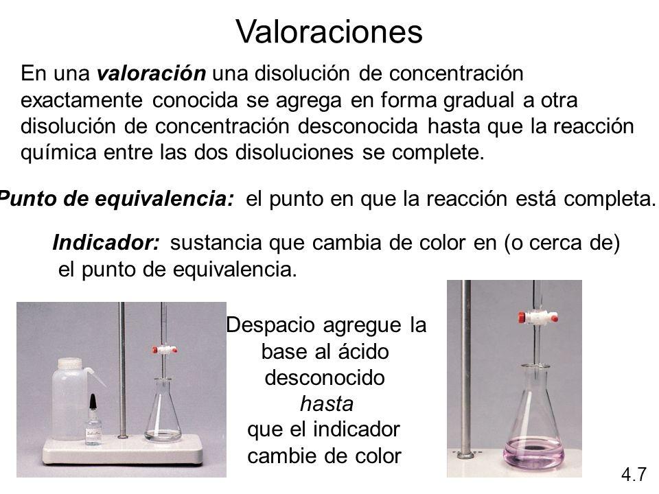 Valoraciones En una valoración una disolución de concentración exactamente conocida se agrega en forma gradual a otra disolución de concentración desc