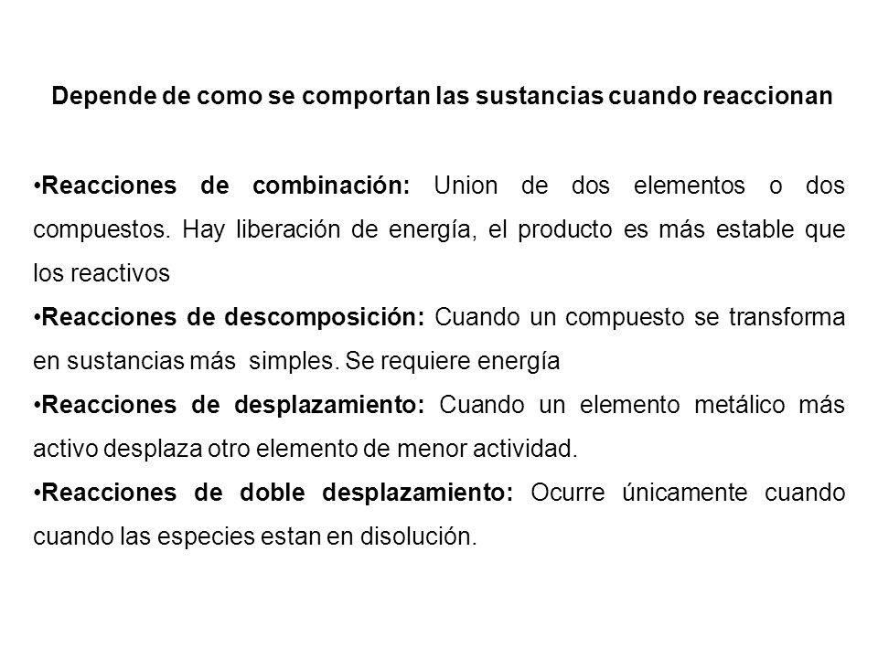 Reacciones de combinación: Union de dos elementos o dos compuestos. Hay liberación de energía, el producto es más estable que los reactivos Reacciones