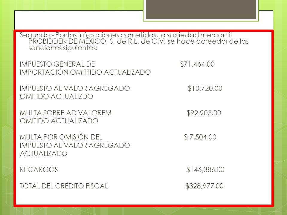 Segundo.- Por las infracciones cometidas, la sociedad mercantil PROBIDDEN DE MÉXICO, S. de R.L. de C.V. se hace acreedor de las sanciones siguientes: