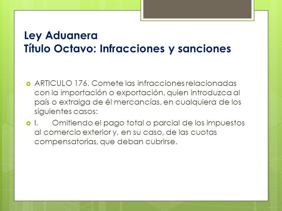 Ley Aduanera Título Octavo: Infracciones y sanciones ARTICULO 176. Comete las infracciones relacionadas con la importación o exportación, quien introd