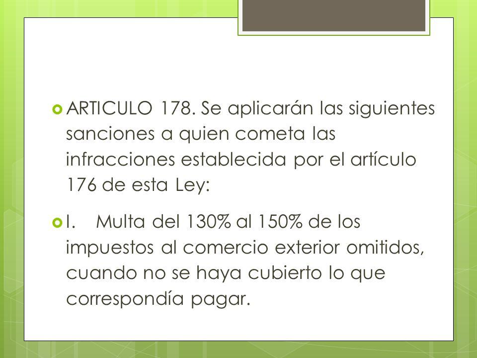 ARTICULO 178. Se aplicarán las siguientes sanciones a quien cometa las infracciones establecida por el artículo 176 de esta Ley: I.Multa del 130% al 1