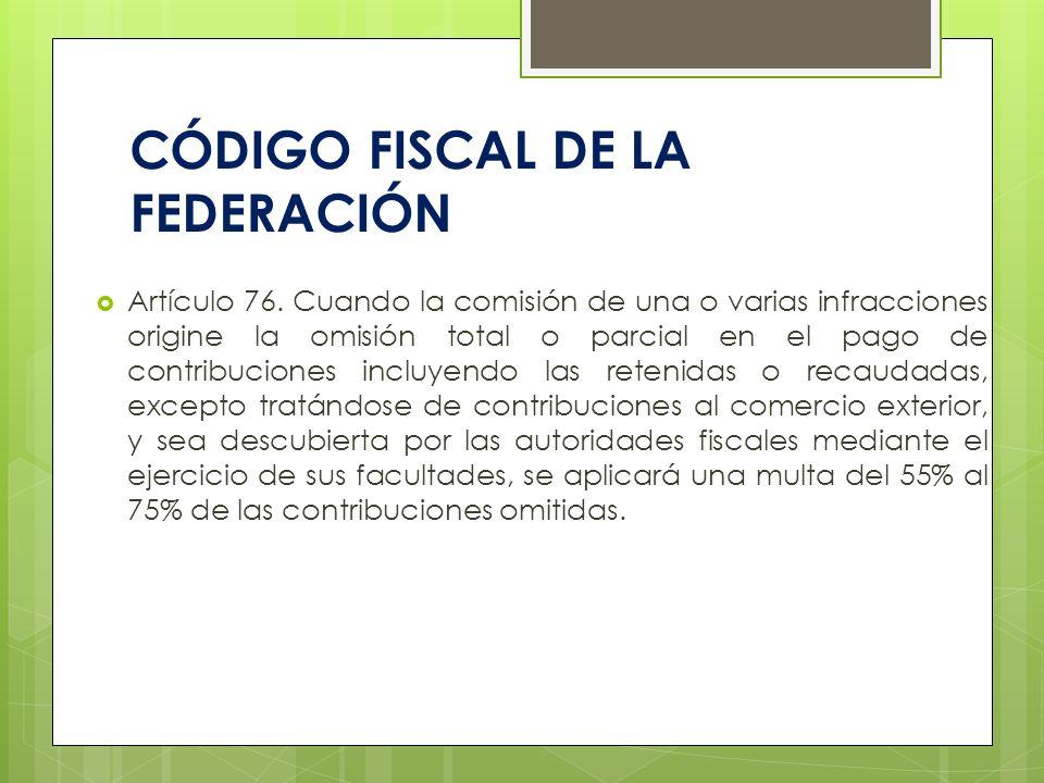 CÓDIGO FISCAL DE LA FEDERACIÓN Artículo 76. Cuando la comisión de una o varias infracciones origine la omisión total o parcial en el pago de contribuc