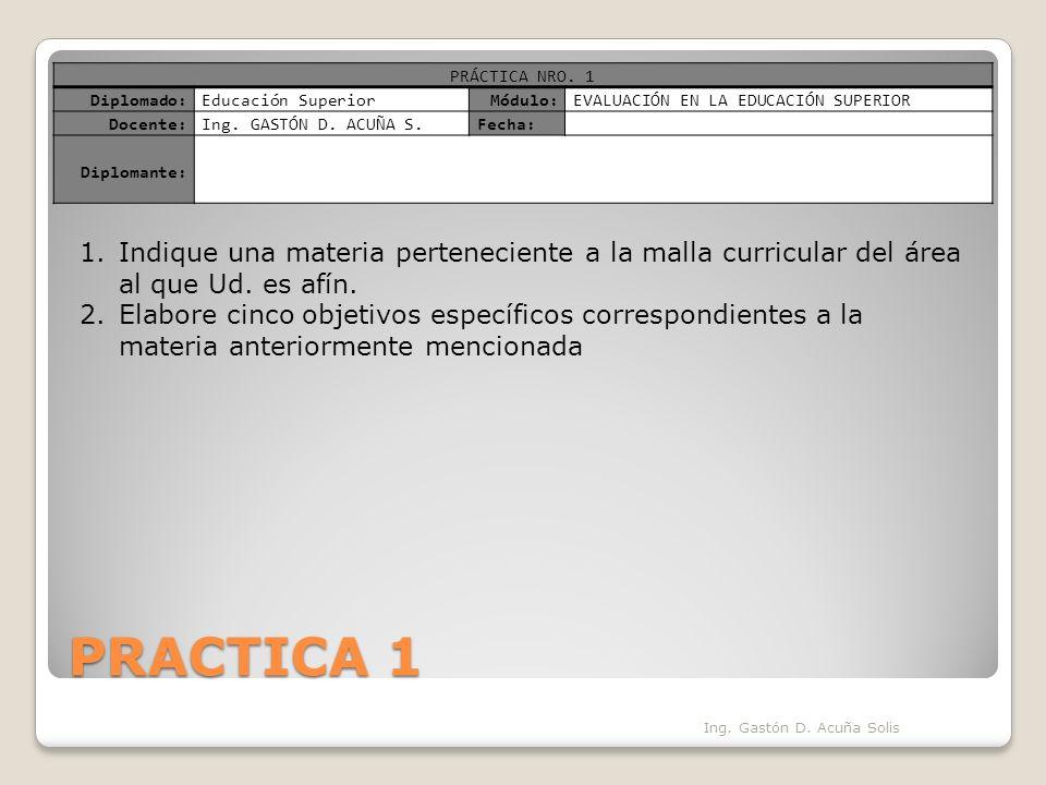 PRACTICA 1 Ing. Gastón D. Acuña Solis PRÁCTICA NRO.