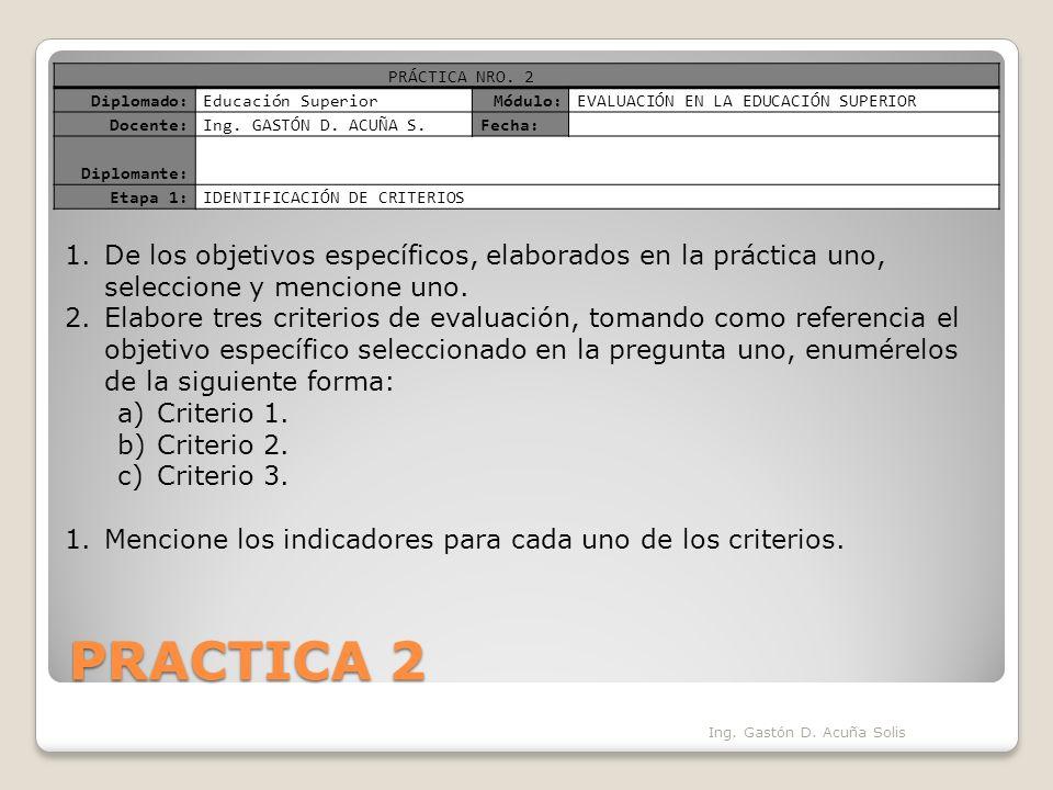 PRACTICA 2 Ing. Gastón D. Acuña Solis PRÁCTICA NRO.