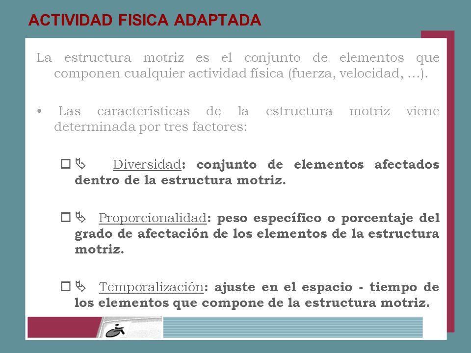ACTIVIDAD FISICA ADAPTADA La estructura motriz es el conjunto de elementos que componen cualquier actividad física (fuerza, velocidad,...). Las caract