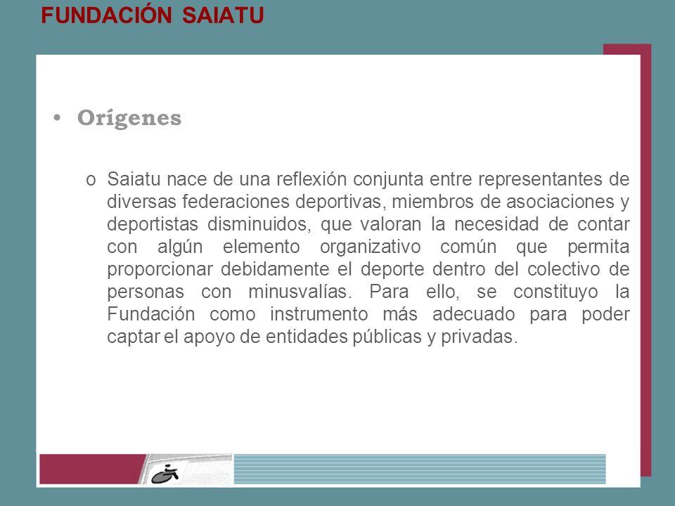 FUNDACIÓN SAIATU Orígenes oSaiatu nace de una reflexión conjunta entre representantes de diversas federaciones deportivas, miembros de asociaciones y