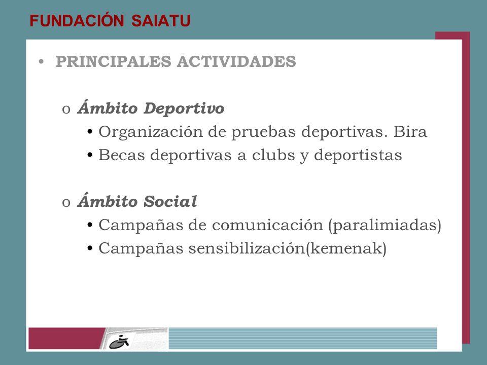 FUNDACIÓN SAIATU PRINCIPALES ACTIVIDADES o Ámbito Deportivo Organización de pruebas deportivas. Bira Becas deportivas a clubs y deportistas o Ámbito S