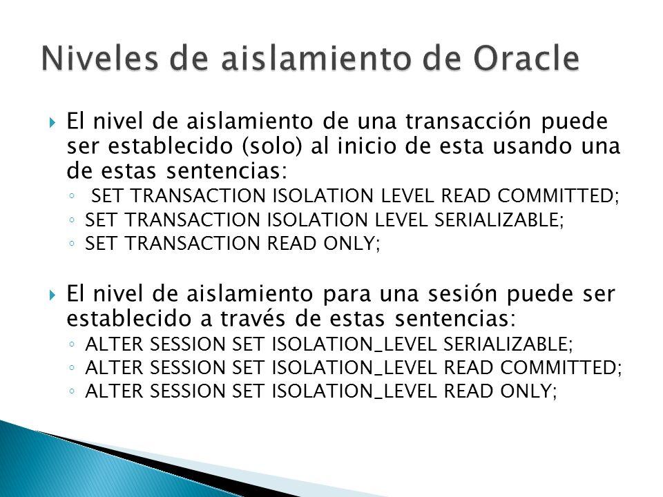 El nivel de aislamiento de una transacción puede ser establecido (solo) al inicio de esta usando una de estas sentencias: SET TRANSACTION ISOLATION LE