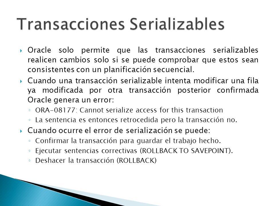 Oracle solo permite que las transacciones serializables realicen cambios solo si se puede comprobar que estos sean consistentes con un planificación s