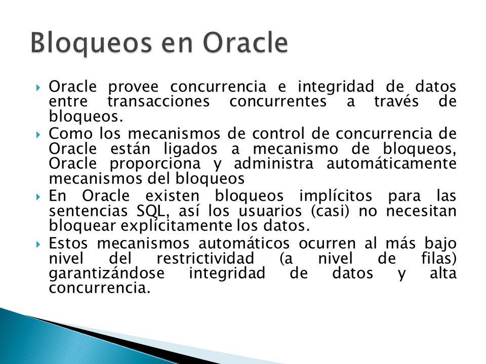 Oracle provee concurrencia e integridad de datos entre transacciones concurrentes a través de bloqueos. Como los mecanismos de control de concurrencia