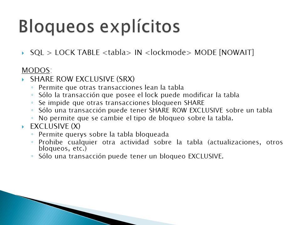 SQL > LOCK TABLE IN MODE [NOWAIT] MODOS: SHARE ROW EXCLUSIVE (SRX) Permite que otras transacciones lean la tabla Sólo la transacción que posee el lock