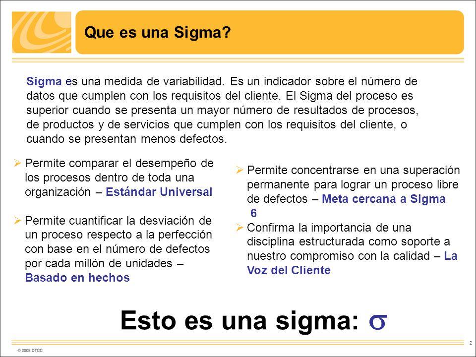 2 Que es una Sigma? Permite comparar el desempeño de los procesos dentro de toda una organización – Estándar Universal Permite cuantificar la desviaci