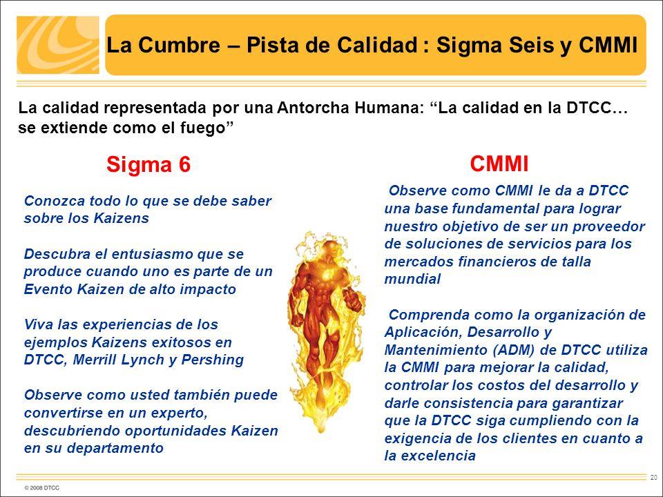 20 La Cumbre – Pista de Calidad : Sigma Seis y CMMI La calidad representada por una Antorcha Humana: La calidad en la DTCC… se extiende como el fuego