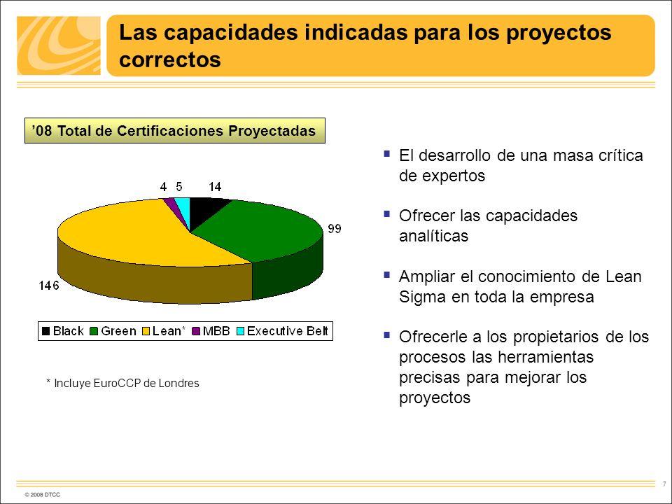 7 Las capacidades indicadas para los proyectos correctos 08 Total de Certificaciones Proyectadas * Incluye EuroCCP de Londres El desarrollo de una mas