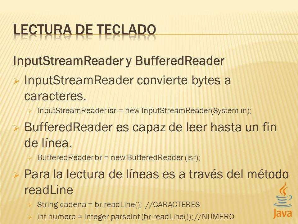 InputStreamReader y BufferedReader InputStreamReader convierte bytes a caracteres.