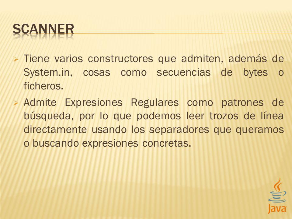 Scanner sc = new Scanner(System.in); // Ejm: 11:33:44 // Usamos como delimitador el dos puntos, o bien cualquier // espacio/fin de línea (el \\s) sc.useDelimiter( [:\\s] ); // Leemos los tres enteros int a = sc.nextInt(); int b = sc.nextInt(); int c = sc.nextInt(); // Obtendremos 11-33-44 de salida.