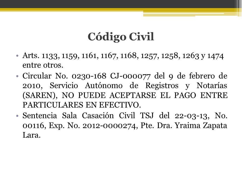 Código Civil Arts. 1133, 1159, 1161, 1167, 1168, 1257, 1258, 1263 y 1474 entre otros. Circular No. 0230-168 CJ-000077 del 9 de febrero de 2010, Servic