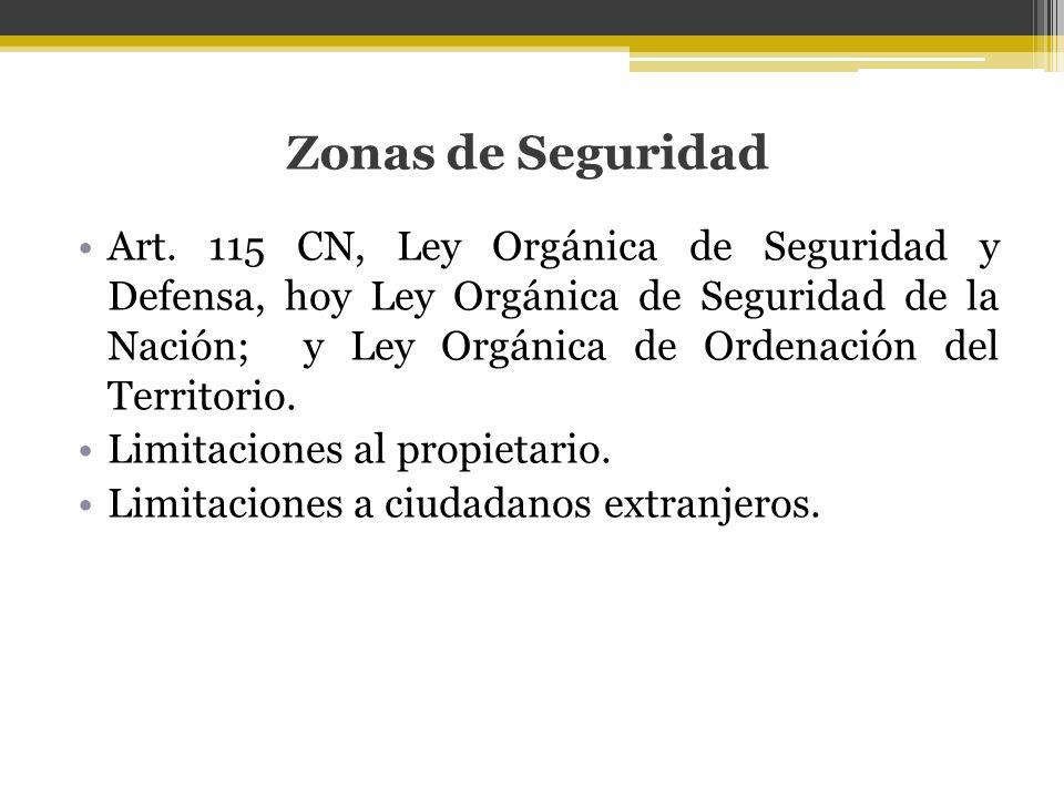 Zonas de Seguridad Art. 115 CN, Ley Orgánica de Seguridad y Defensa, hoy Ley Orgánica de Seguridad de la Nación; y Ley Orgánica de Ordenación del Terr