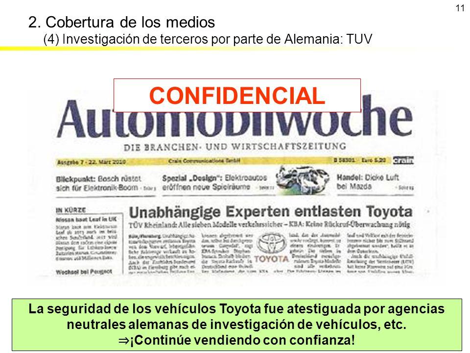 La seguridad de los vehículos Toyota fue atestiguada por agencias neutrales alemanas de investigación de vehículos, etc. ¡Continúe vendiendo con confi