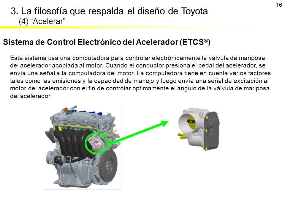 Este sistema usa una computadora para controlar electrónicamente la válvula de mariposa del acelerador acoplada al motor. Cuando el conductor presiona