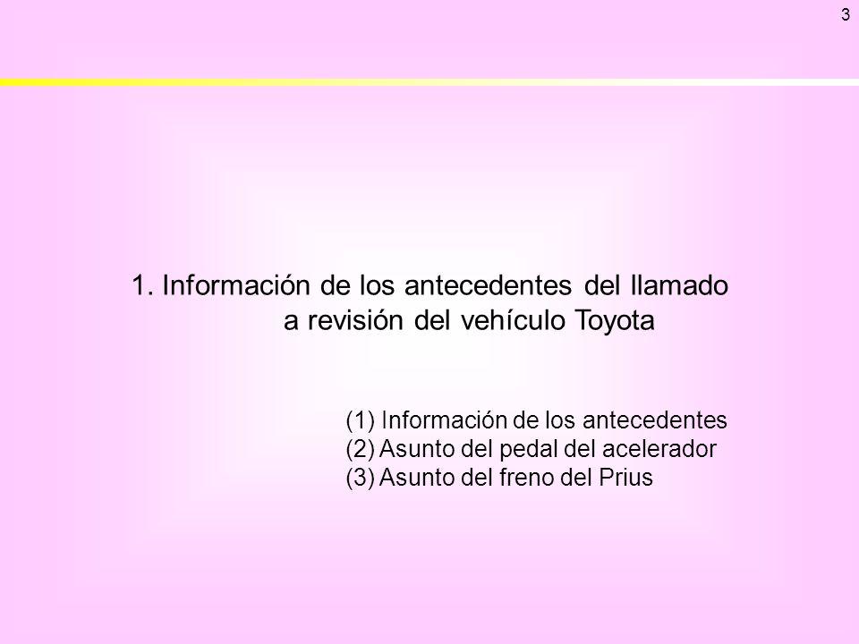 1. Información de los antecedentes del llamado a revisión del vehículo Toyota 3 (1) Información de los antecedentes (2) Asunto del pedal del acelerado