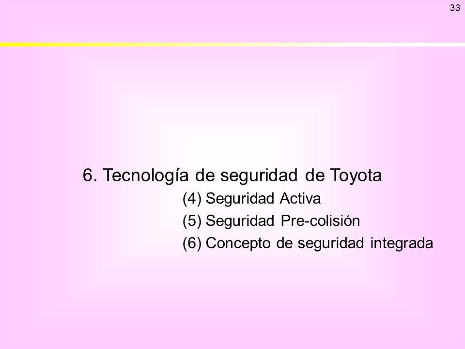 6. Tecnología de seguridad de Toyota 33 (4) Seguridad Activa (5) Seguridad Pre-colisión (6) Concepto de seguridad integrada