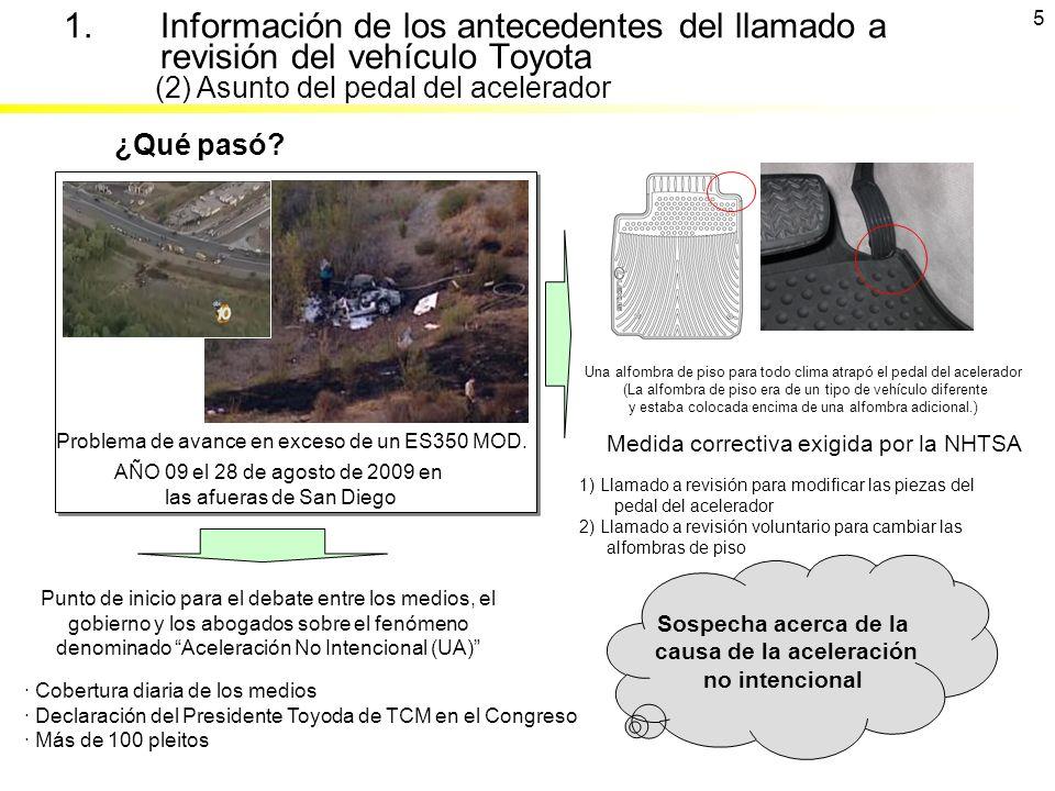 Problema de avance en exceso de un ES350 MOD. ¿Qué pasó? AÑO 09 el 28 de agosto de 2009 en las afueras de San Diego Medida correctiva exigida por la N