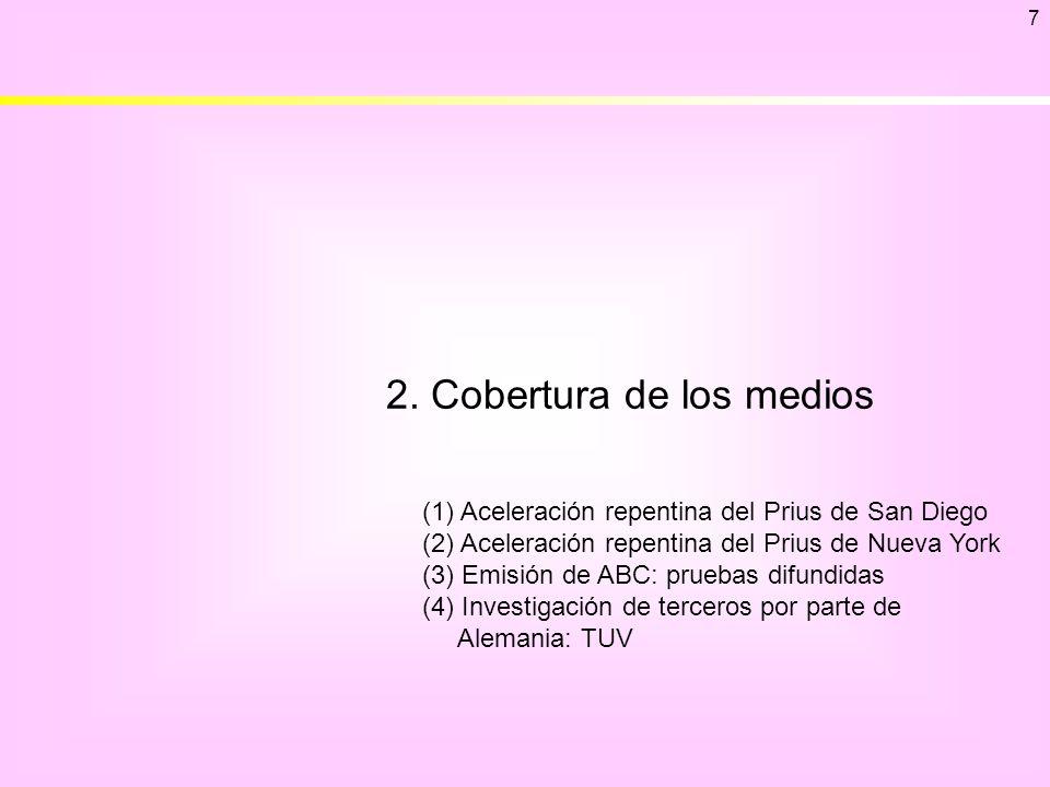 2. Cobertura de los medios 7 (1) Aceleración repentina del Prius de San Diego (2) Aceleración repentina del Prius de Nueva York (3) Emisión de ABC: pr