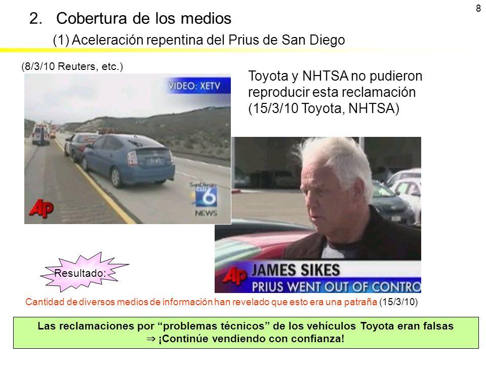 2. Cobertura de los medios Las reclamaciones por problemas técnicos de los vehículos Toyota eran falsas ¡Continúe vendiendo con confianza! (8/3/10 Reu