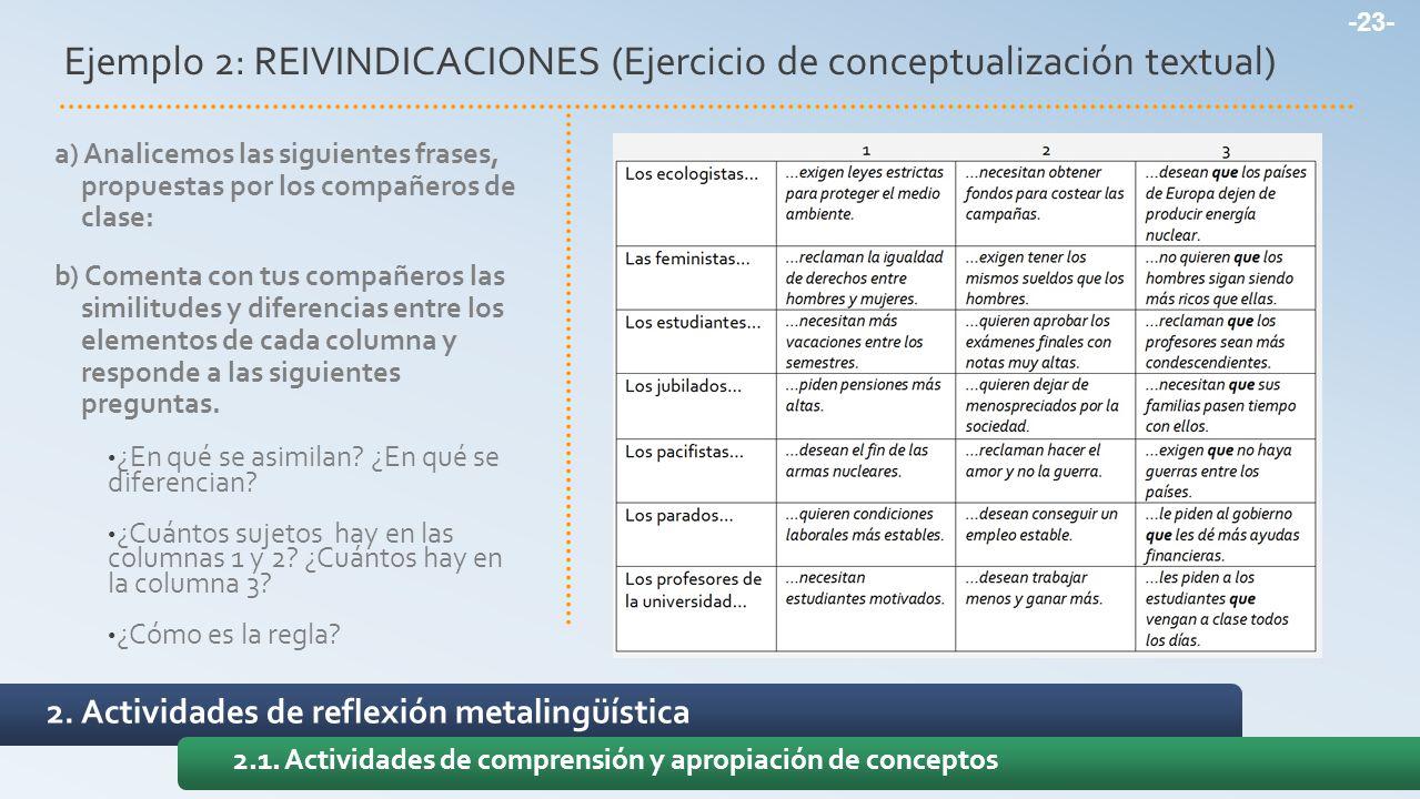 2. Actividades de reflexión metalingüística 2.1. Actividades de comprensión y apropiación de conceptos Ejemplo 2: REIVINDICACIONES (Ejercicio de conce