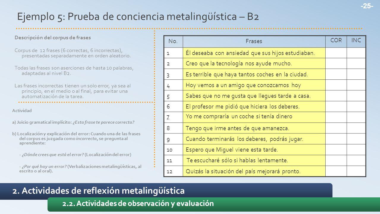 Ejemplo 5: Prueba de conciencia metalingüística – B2 No.Frases CORINC 1Él deseaba con ansiedad que sus hijos estudiaban. 2Creo que la tecnología nos a