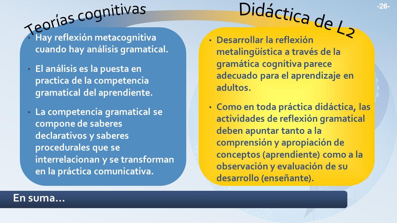 Hay reflexión metacognitiva cuando hay análisis gramatical. El análisis es la puesta en practica de la competencia gramatical del aprendiente. La comp
