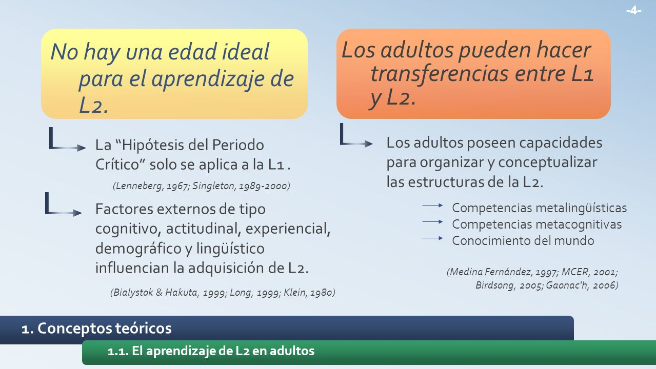 -4- 1.1. El aprendizaje de L2 en adultos No hay una edad ideal para el aprendizaje de L2. Los adultos pueden hacer transferencias entre L1 y L2. La Hi